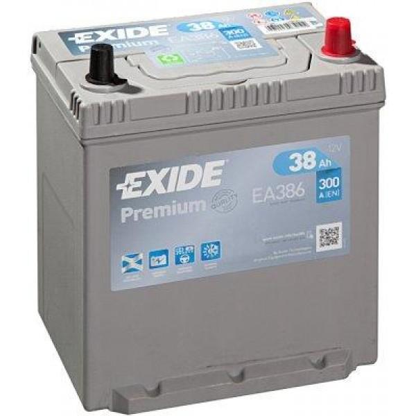 EXIDE EA386 PREMIUM 38Ah 300A (- +) 187x127x220