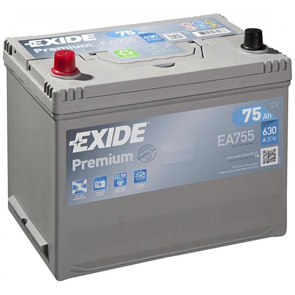 EXIDE EA755 PREMIUM 75Ah 630A (+ -) 270x173x222