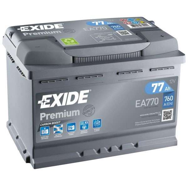 EXIDE EA770 PREMIUM 77Ah 760A (- +) 278x175x190