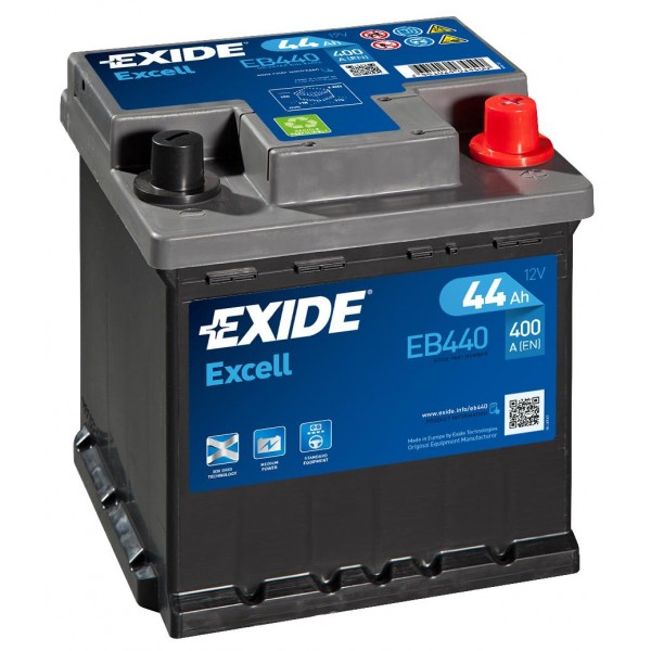 EXIDE EB440 EXCELL 44Ah 400A (- +) 175x175x190