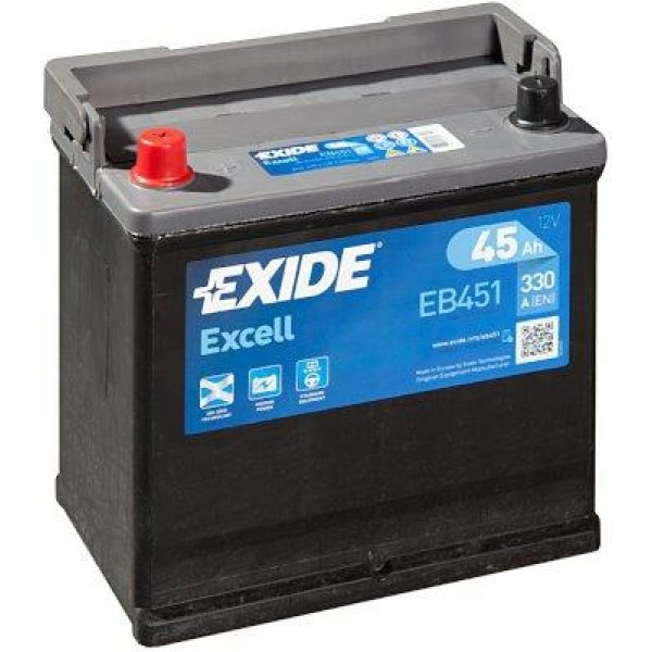 EXIDE EB451 EXCELL 45Ah 330A (+ -) 218x133x223