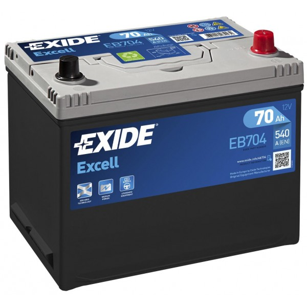 EXIDE EB704 EXCELL 70Ah 540A (- +) 266x172x223