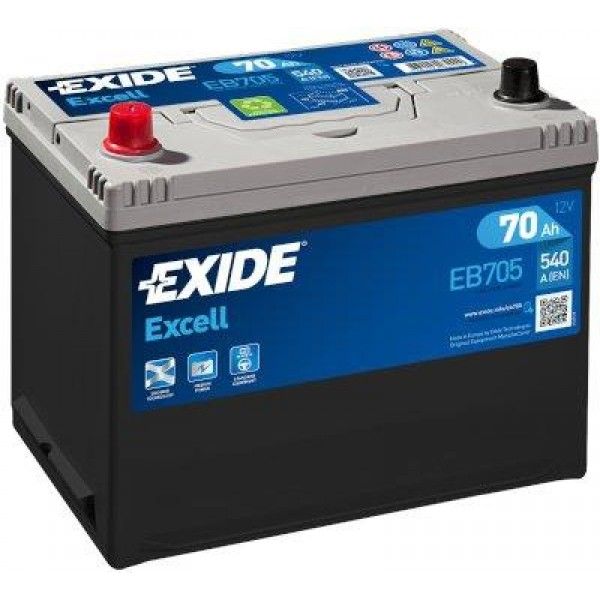 EXIDE EB705 EXCELL 70Ah 540A (+ -) 266x172x223