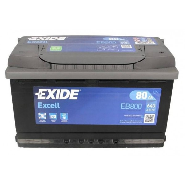 EXIDE EB800 EXCELL 80Ah 640A (- +) 315x175x190