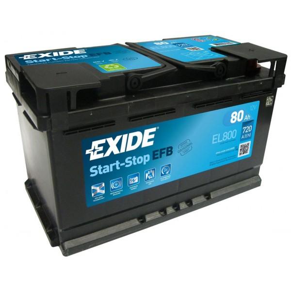 EXIDE EL800  ECM (EFB) 80Ah 720A (- +) 315x175x190