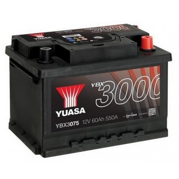 YUASA YBX3075 60Ah 550A SMF  0(- +) 243x175x175