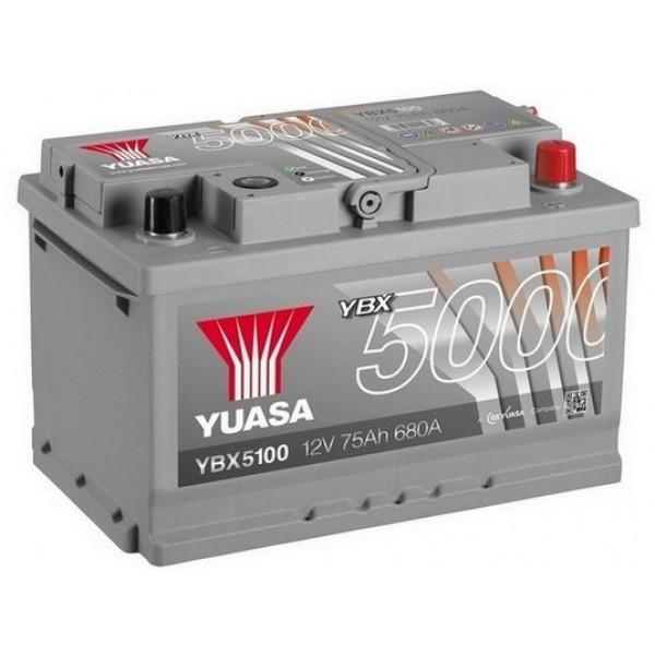 YUASA YBX5100 75Ah 680A Silver High Performance  0(- +) 278x175x175